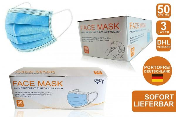 Einweg Atemschutzmasken 3-lagig (50er Pack)