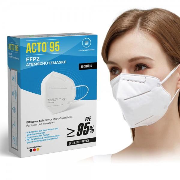 ACTO® 95 Premium FFP2 Atemschutzmaske (10er Pack) 5-lagig Einzelverpackt CE-Zertifiziert